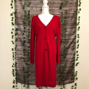 NWT Red Long button down sweater